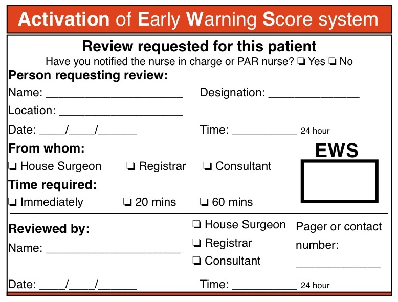 Early Warning Score Activation